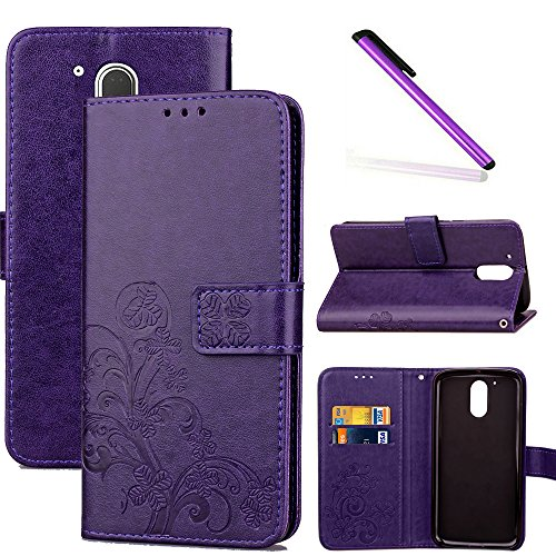 COTDINFOR Moto G4 Funda trébol Cierre Magnético Billetera con Tapa para Tarjetas de Cárcasa Elegante Retro Suave PU Cuero Caso Protectora Case para Motorola Moto G4 / G4 Plus Clover Purple SD