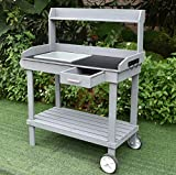 Sihang Home Wooden Outdoor Garden Potting Bench - Work Station Table with Sink Wood Patio Furniture Natural Gardening Workbench Drawer Storage Space Open Shelf (Grey)