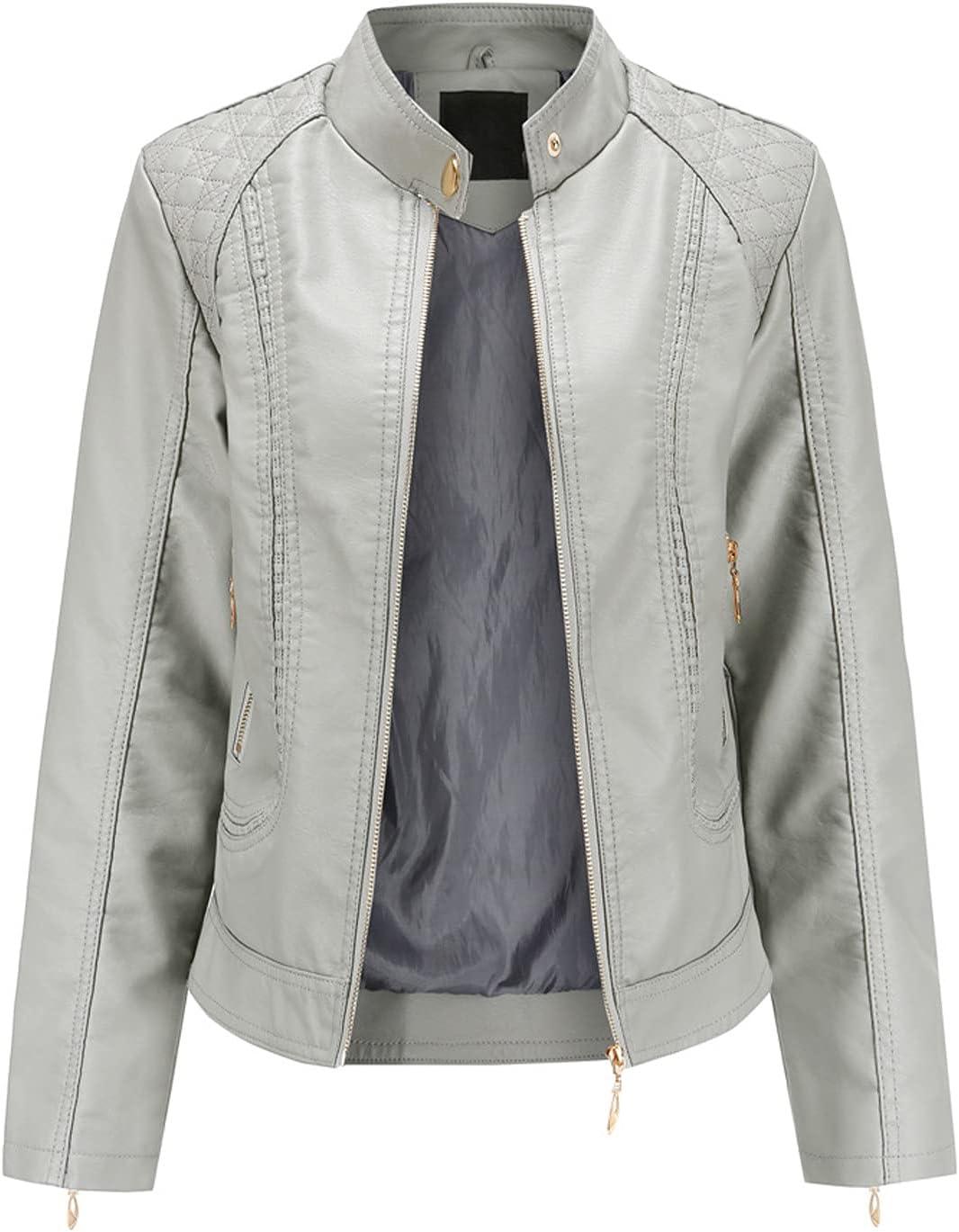 Women's Jacket,Ladies Fashion Solid Color Slim Stand Collar Zipper Solid Color Pocket Leather Biker Jacket