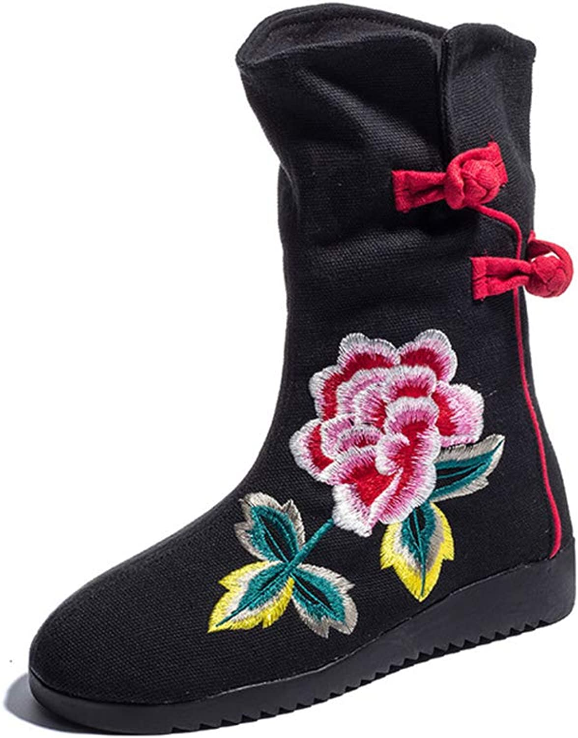 Women's Cloth shoes Autumn Ethnic Embroidered Boots Fashion Flat Boots Casual Party & Evening Dress shoes (color   Black, Size   39)