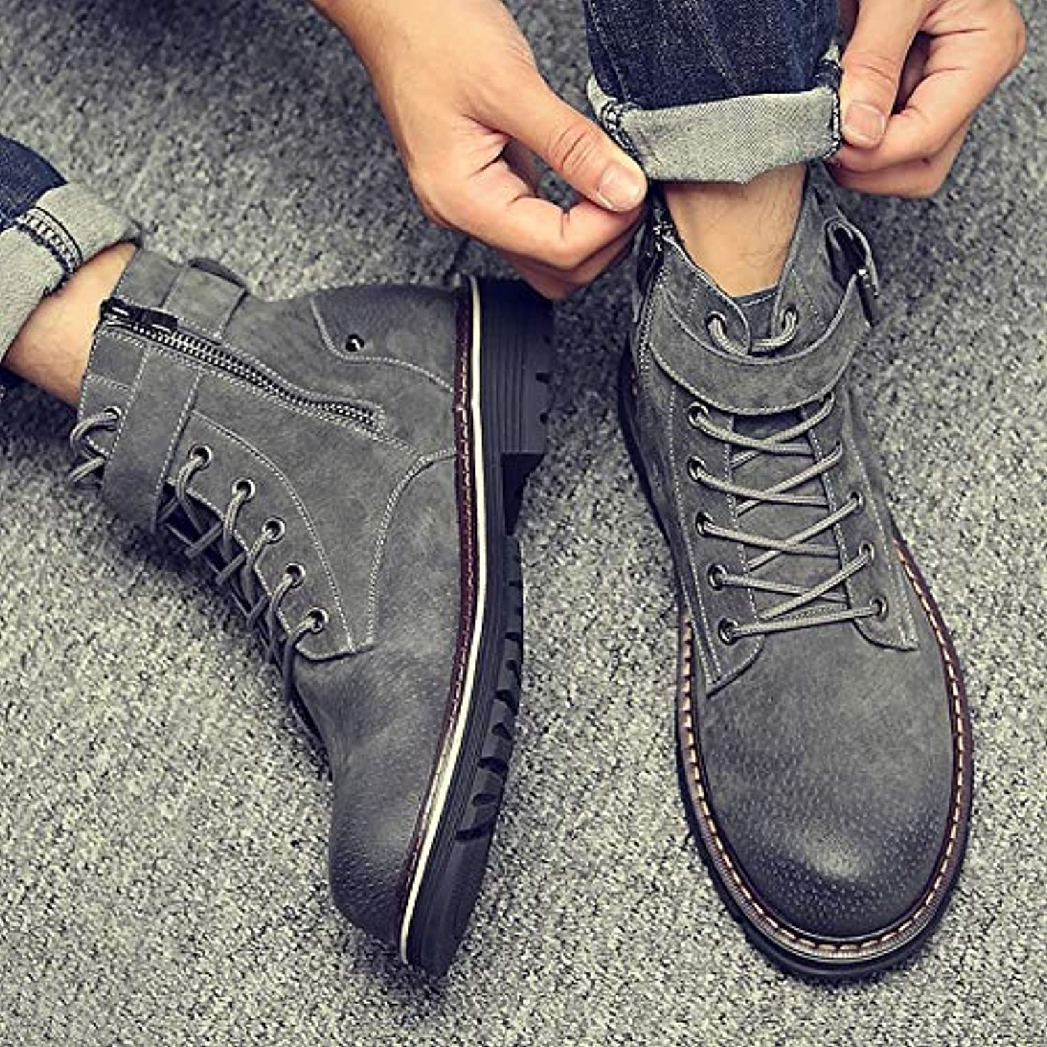 Shukun Men's boots Martin Boots Men'S Winter Autumn Versatile Zipper Cotton To Help High Boots Boots Tooling shoes