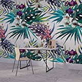 HUANG YA HUI Papel pintado Papel Tapiz De Estilo Tropical De Fondo Las Plantas De Impresión Mural Restaurante Flor Papel Tapiz
