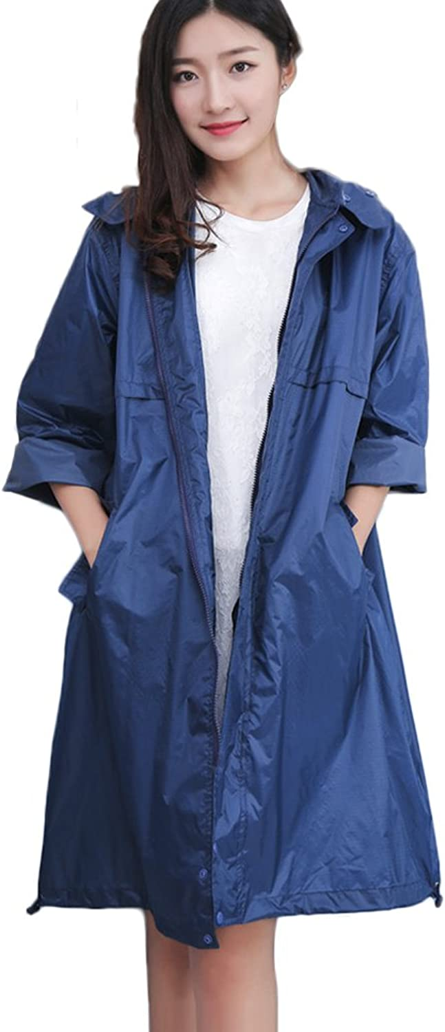 Long Raincoat Hiking Poncho Light and Breathable Portable to Send Storage Bag Unisex (color   blueee, Size   L)