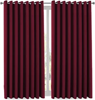 H.VERSAILTEX Thermal Insulated Grommet Blackout Curtains for Christmas & Thanksgiving Gift, Sliding Door Patio Door Curtains, Living Room Divider Curtains (1 Panel, 8.5ft Wide by 7ft Long) - Burgundy
