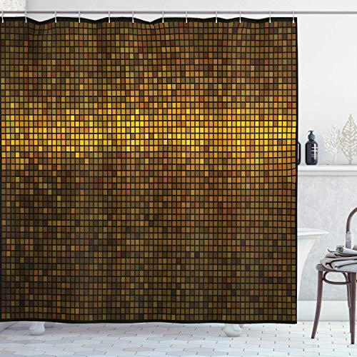 N\A Abstrakter Duschvorhang, Disco-Themenmuster Quadrate Digitaleffekt-Pixelmosaik-geometrische Anordnung, Stoff-Stoff-Badezimmer-Dekor-Set mit Haken, Kitzgelb