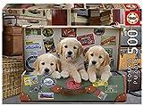 Educa - Genuine Puzzles, 500 piezas, Cachorros en el equipaje (17645)