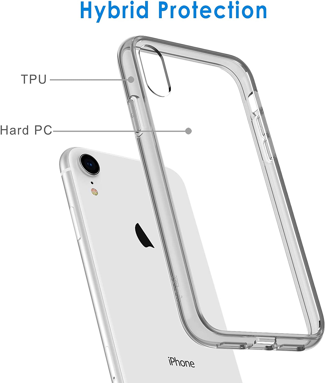 JETech Case for iPhone XR 6.1-Inch, Shock-Absorption Bumper Cover, Grey