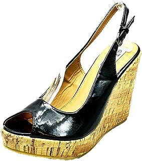 SendIt4Me Señoras Sling Espalda Peep Toe Wedge Zapatos de Tacón/Sandalias