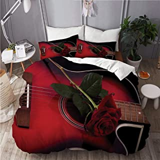 KUDOUXIA Red and Black Spanish Musician Portugal Hand Made Guitar with Romance Theme Love Rose Decorative Bedding Set 1 Duvet Cover with 2 Pillow Cases King