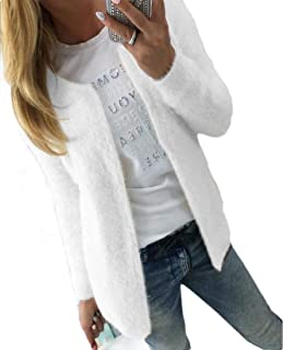 Womens Open Front Sexy Slim Fit Solid Color Long Sleeve Shaggy Short Cardigan Coats