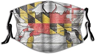 BYJHMB Maryland Rustic State Flag Crab Cotton Washable Nose Wired Face Cover Filter Pocket Wide Cover with Filter