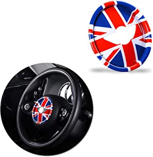 Miniclue Red/Blue Union Jack UK Flag ABS 3D Sticker Compatible with Steering Wheel Cover Dashboard Trim for BMW Mini Cooper ONE S JCW F Series F54 F55 F56 F57 F60 Countryman Clubman