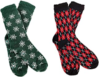 FGR Christmas (2 Pack) Womens Thick Knit Sherpa Fleece Lined Thermal Fuzzy Slipper Socks With Grippers Green Black Mix