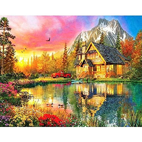 5D DIY diamante pintura paisaje casa jardín diamante bordado conjunto diamante mosaico imagen Natural Mural A5 45x60cm