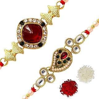 Jaipur Mart Preyans Strand Bracelet Rakhi with Roli Chawal (2 Piece Combo) (RKH139CMB)