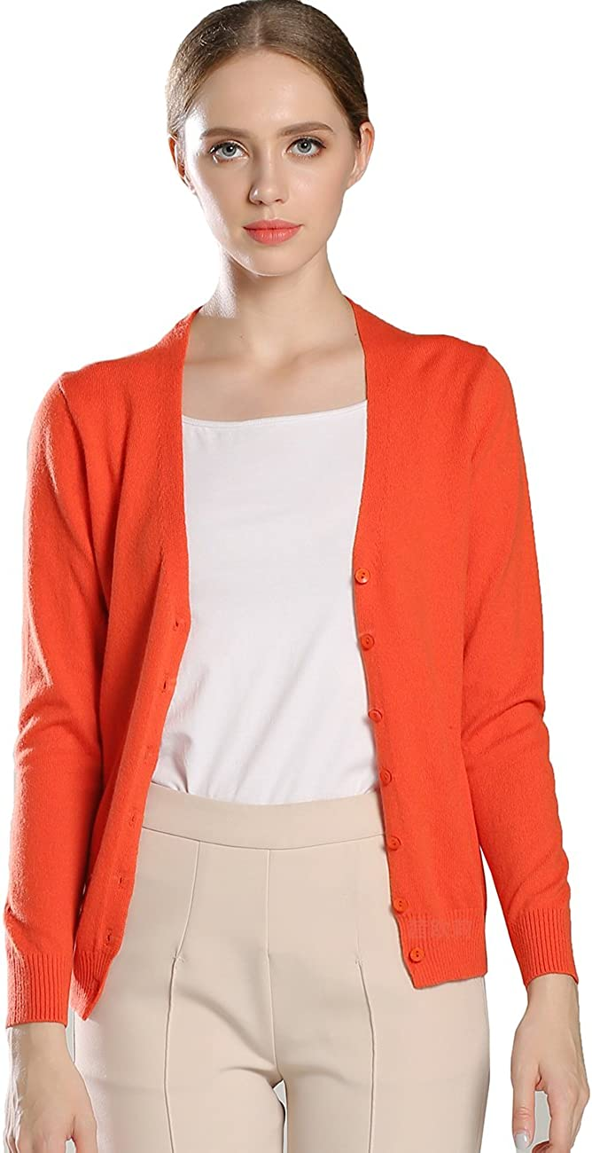 Aecsoc Women's Button Front Long Sleeve Crew Neck Cashmere Cardigan Sweater A187914 (M, Orange)