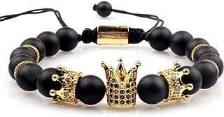 GVUSMIL Imperial Crown Bead Bracelet King&Queen Luxury Charm Couple Jewelry Gift for Women Men