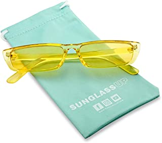 2da3c5c756b SunglassUP 90 s Vibe Super Slim Rectangular Candy Colored Transparent Frame  Sunglasses