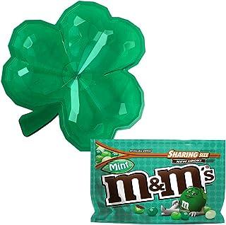 73c3d258 St Patricks Day Irish Lover's Shamrock Candy Dish with Dark Chocolate Mint  M&Ms Set