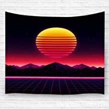 YILINGER Tapestry Wall Hanging Retro Futuristic 1980S Style Digital Landscape in Cyber World Retrowave Music Album Cov Hanging Tapestry Wall Decoration Carpet 39.4