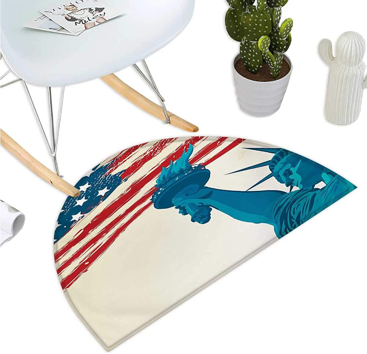 American Flag Semicircle Doormat Statue of Liberty Form Over States Flag Murky Lines Freedom Symbol Artwork Halfmoon doormats H 35.4  xD 53.1  Multicolor