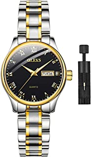 OLEVS Women's Analog Quartz Business Watch with Stainless Steel Band, Classic Waterproof Watches Roman Numeral Unique Calendar Date Window Wristwatch