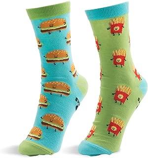 Cheeseburger and Fries-M/L Unisex Sock, Blue, Medium