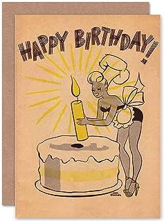 Birthday Happy Cake Candle Retro Fun Art Greetings Greeting Card Gift