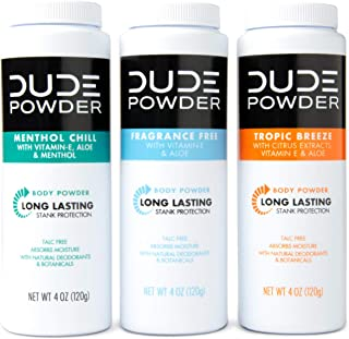 DUDE Body Powder Variety Pack, Tropic Breeze, Menthol Chill & Fragrance Free 4 Ounce (3 Bottle Pack) Natural Deodorizers, Talc Free, Corn-Starch Based Daily Post-Shower Deodorizing Powder for Men
