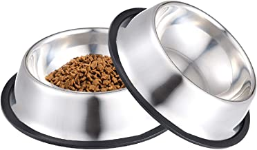 NAIYO Dog Bowl Stainless Steel Dog Bowl with Rubber Base for 8oz 16oz 26oz Small/Medium/Large Dogs,Pets Feeder Bowl and Wa...
