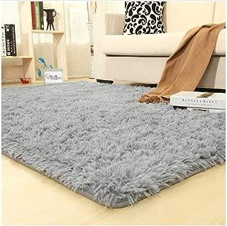 OYRE Ultra Soft Indoor Area Non-Slip Rugs Fluffy Carpets Suitable Living Room Dorm Bedroom Teen Room Decor (Gray, 4- Feet by 5.2- Feet)
