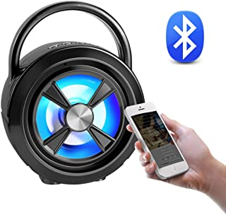 BVI BOOMERVIVI Bluetooth Speaker 5.0, Portable Outdoor Bluetooth Speaker with Night Lights, Quality Wireless Stereo Booming Bass, Support TF Card/USB/AUX/FM Play Modes (Black)