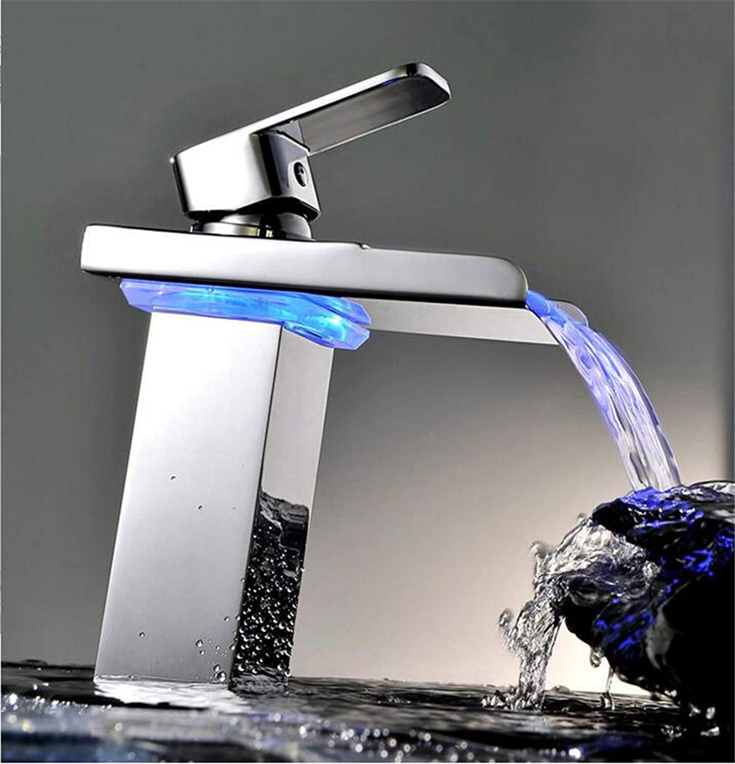 Bathroom Faucet with LED Light Chrome Polished Led Tap Basin Faucet Bathroom Deck Mounted Basin Sink Mixer Tap LED Will Change
