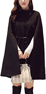 Women's Elegant Belted Mid Long Trench Coat Wool Blended Cloak Overcoat