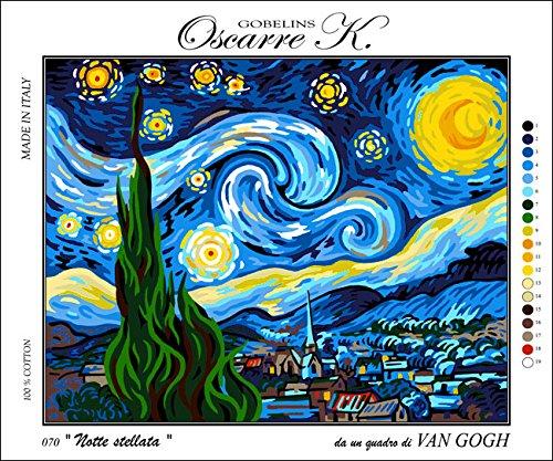 Oscarre K. gobelins Krainer Kit para Bordar Cañamazo Estampado para Medio Punto Van Gogh's Starry Night 50x39 Cod K70XL