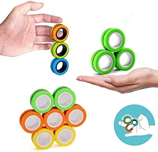 RITONS 12 PCS Finger Magnetic Ring, Magnet Toy, Magnetic Fingertip Toys, Decompression Magnetic Magic Ring, Magnetic Game,...