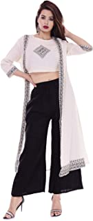 CUEGAL Women's Off White Printed Cotton Top with Palazzo and Shrug Set