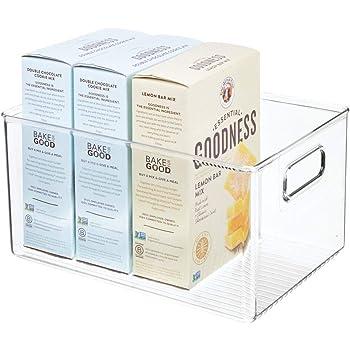 mDesign Caja organizadora con asas – Organizador de frigorífico alto para almacenar alimentos – Contenedor de plástico para los armarios de la cocina o la nevera – transparente: Amazon.es: Hogar