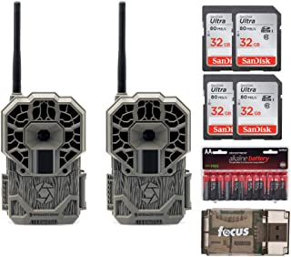 Stealth Cam GX Cellular Series 22 MP 100FT Infrared Range Verizon Remote Mobile App Camera (2-Pack) Kit w Accessories (8 I...