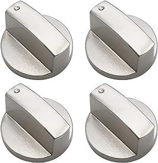 JPGhaha 4 Pièces Boutons de Cuisinière 8mm Boutons de Commande Universels en Métal Argenté comme Remplacement de Boutons p...
