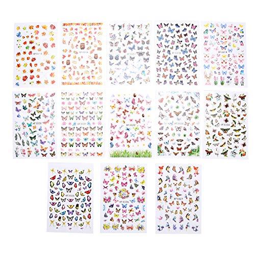 13pcs Nail Art Sticker Kit de décoration pour Nail Art avec auto-adhésif, outil de décalcomanies à ongles bricolage pour salon professionnel et usage domestique