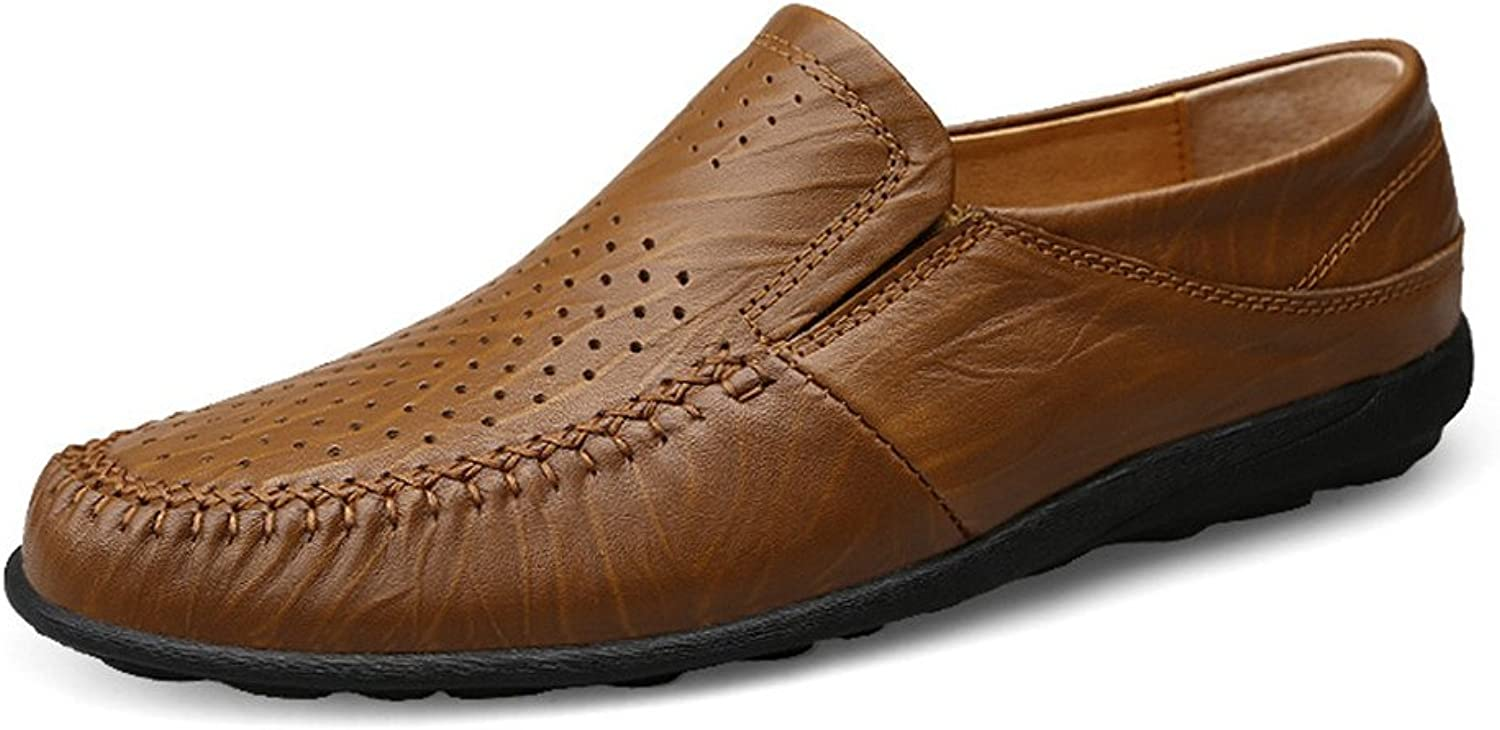 MUMUWU Men's Driving Loafer Casual and Refreshing Premium Genuine Leather shoes (color   Hollow Khaki, Size   7.5 D(M) US)