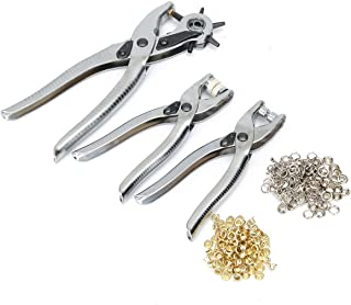 Stark 3PC Leather Belt Hole Punch Eyelet Plier Snap Button Grommet Manual Hand Tool Revolving Leather Hole Punch Set