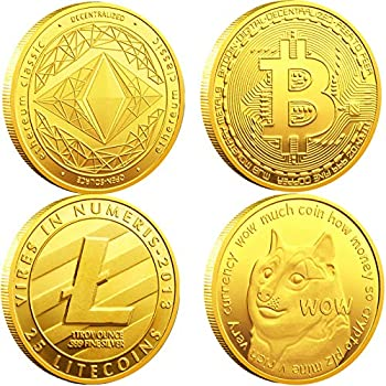Bitcoin Coin Collector's Cryptocurrency Gift Set - Bitcoin  BTC  Ethereum  ETH  Litecoin  LTC  Dogecoin  Doge  Gold Commemorative Coins with Protective Case 4 Pack