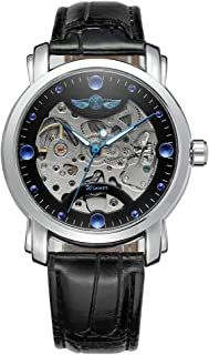 Andoer 005 Business Men Mechanical Watch Time Display Fashion Casual Stainless Steel Leather Strap Bracelet 3ATM Waterproo...