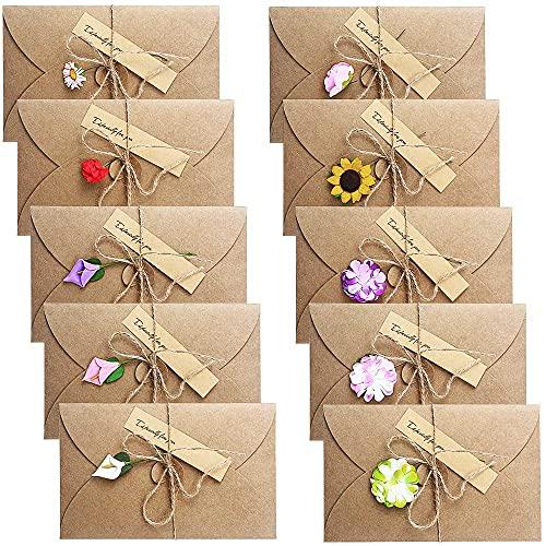 Rayong 10 PCS Tarjeta de Felicitación 17,5 x 11cm Tarjeta Cumpleaños Papel Kraft Retro Postal Flores Secas Decorada Sobres Regalo para Boda, Cumpleaños, Invitacion, Aniversarios, Fiesta