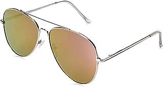 zeroUV Women's Large Full Metal Color Mirror Teardrop Flat Lens Aviator Sunglasses 60Mm One-Size Silver/Purple Mirror