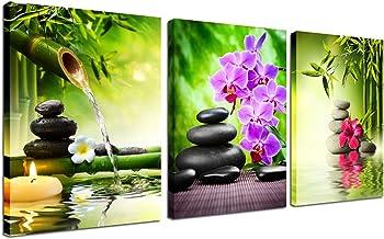 Zen Decor Canvas Wall Art - 3 Panel Green Bamboo Picture Fra