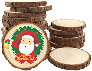 20Pcs 3.5-4.inch Unfinished Natural Wood Slices Crafts Circles with Tree Bark Log Discs Great for Arts and DIY Craft Rustic Wedding Decorations Ornaments