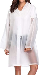 Vecchi Clear EVA Raincoat Women Rain Ponchos Reusable Long Rainwear Packable Lightweight Hooded Raincoats Travel Hiking Daily Use